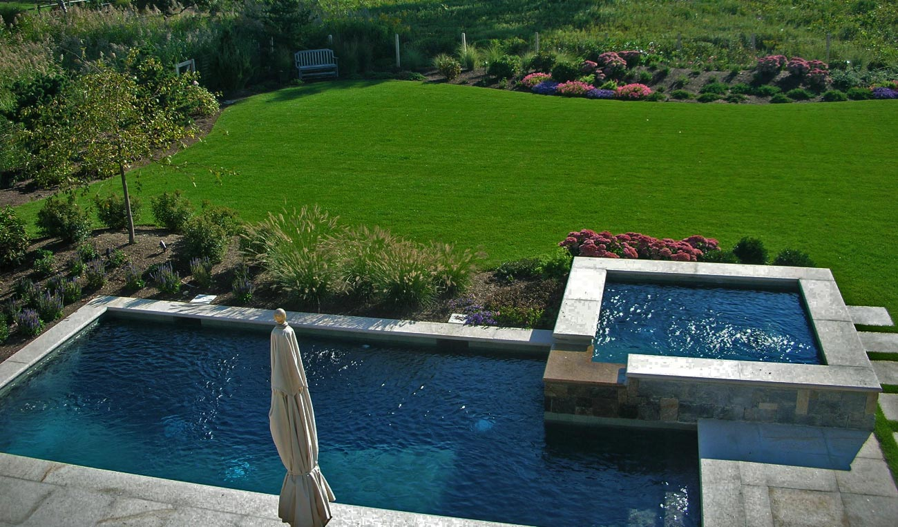 The finish and color or your pool are important and will drive the overall feel.