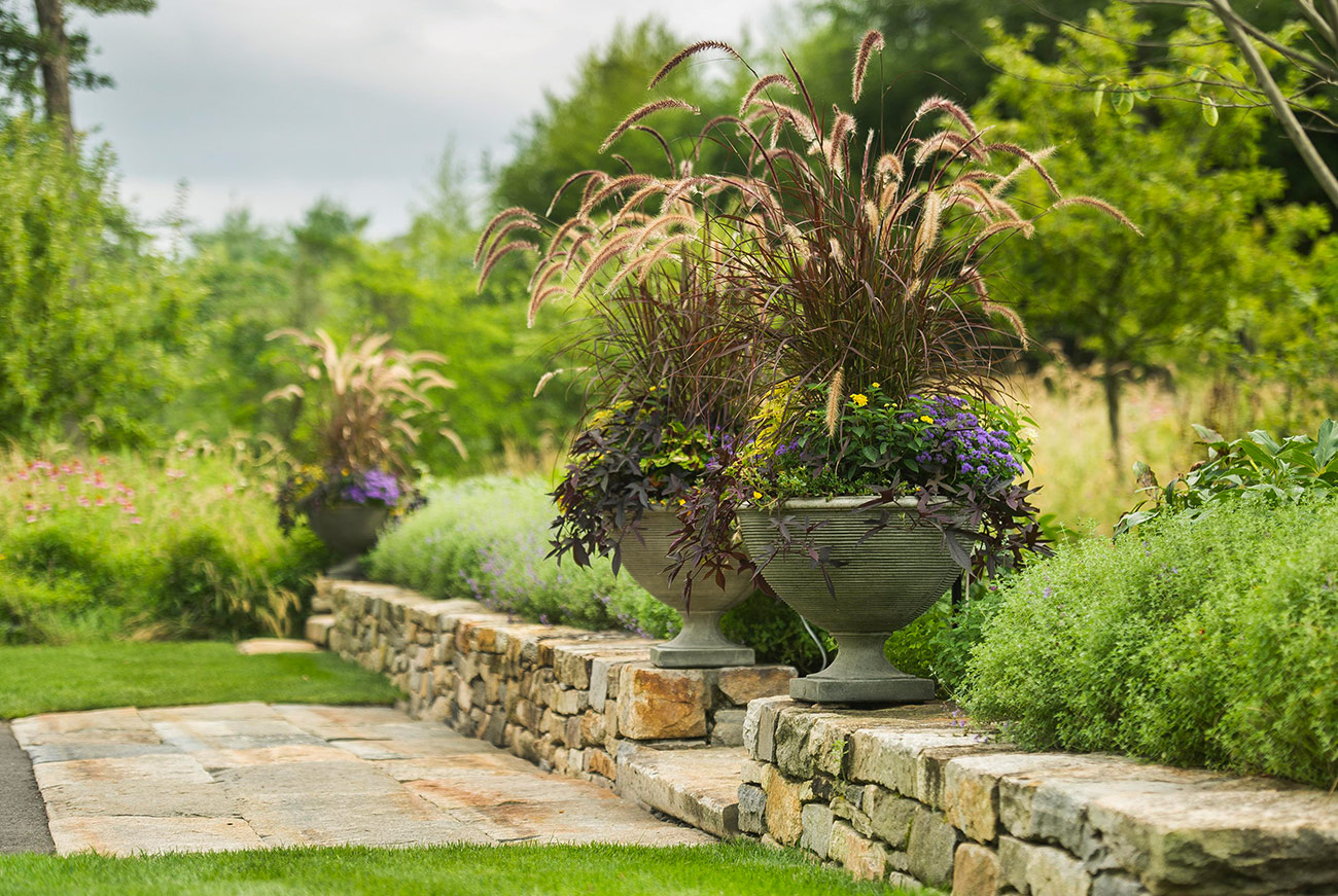 The LaurelRock Company - Residential Landscaping in Wilton CT - High Meadow Farm - Planters and Stone Retaining Walls