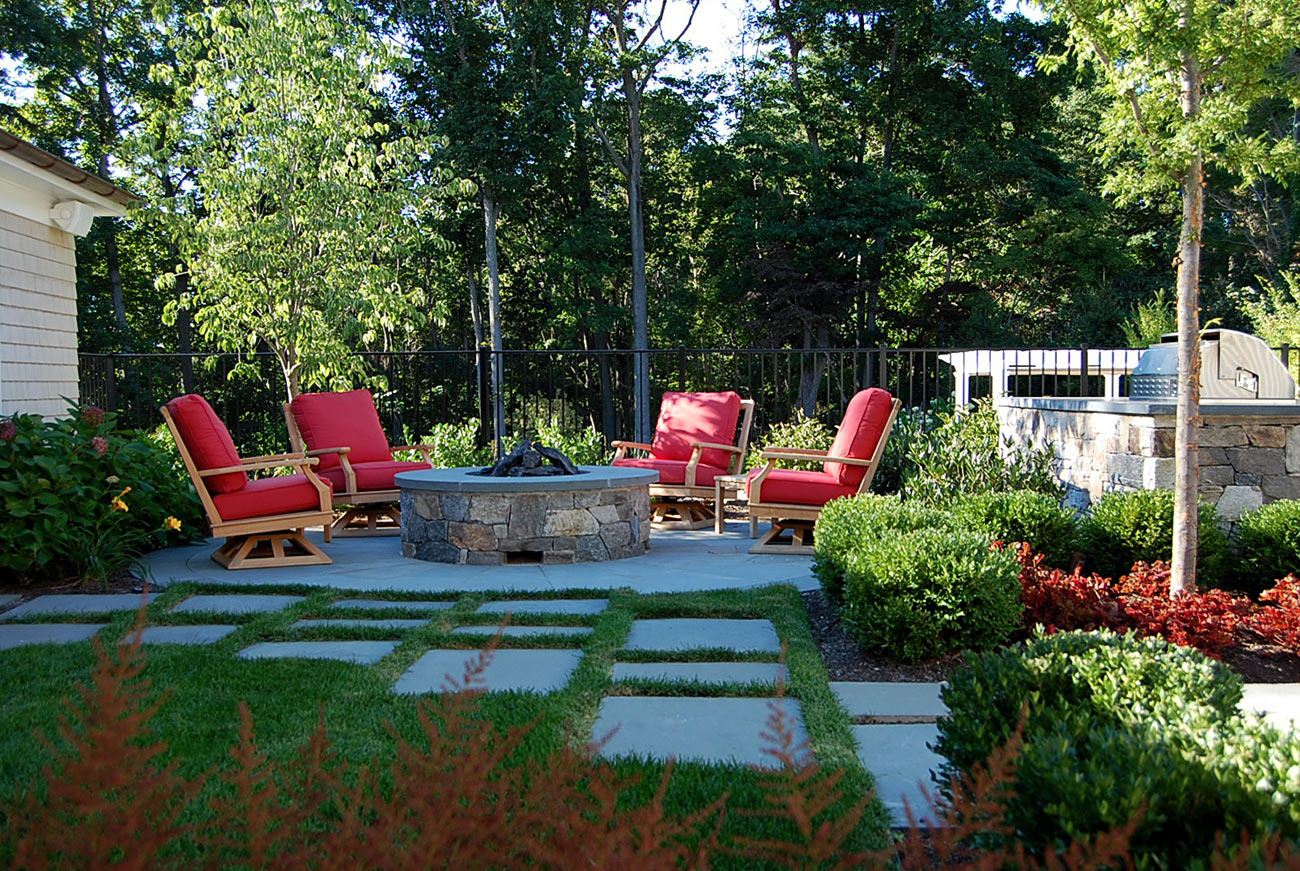 The LaurelRock Company - Residential Landscaping in CT - Sunset Ridge - Gathering Spot Around the Firepit