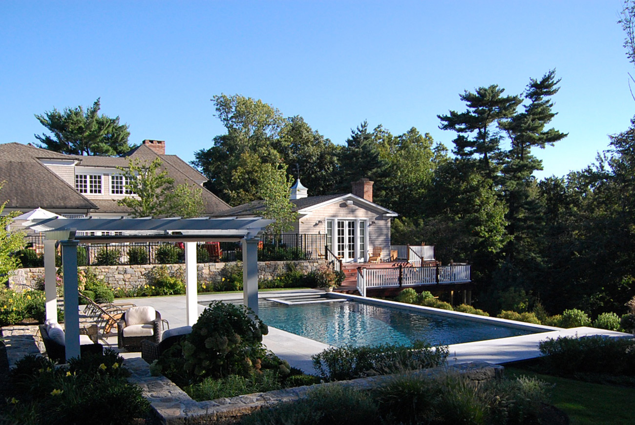 The LaurelRock Company - Residential Landscaping in CT - Sunset Ridge - Pergola Overlooking the Pool